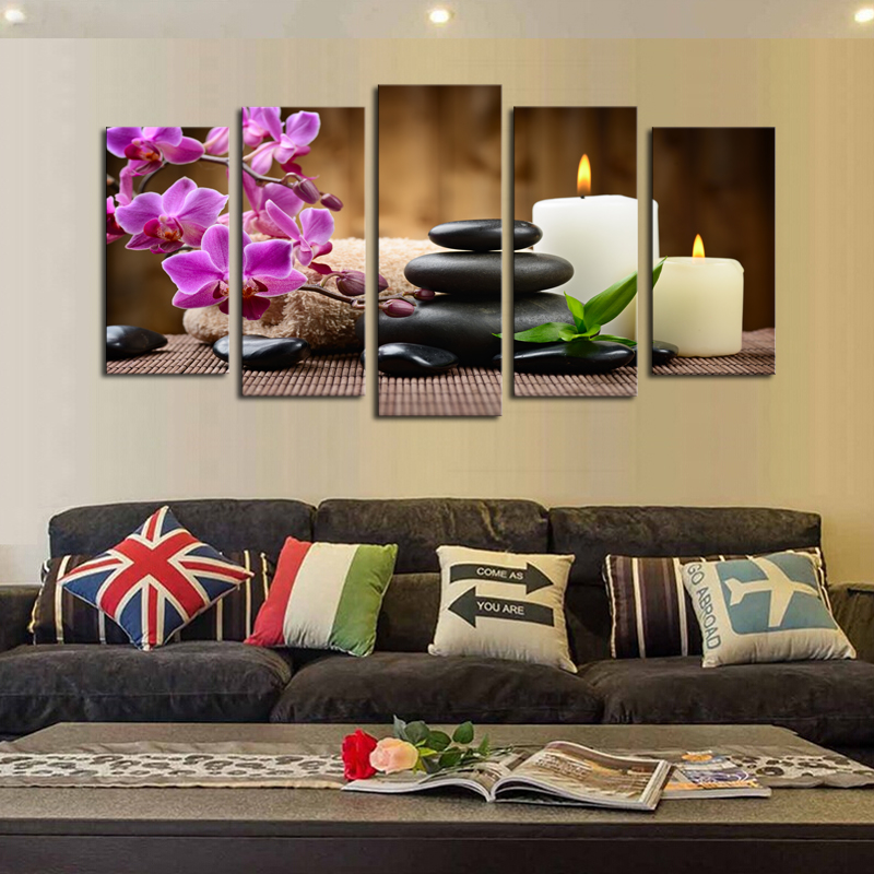 Unframed 5 Panels Purple Flowers Candle Picture Canvas Print Painting Artwork Wall Art Canvas painting Wholesale For Home Decor(China (Mainland))