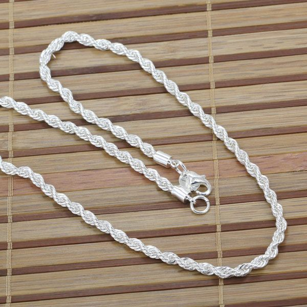 N067-20 wholesale Silver plated necklace, silver fashion jewelry Shine Twisted Line 4mm 20 inches Necklace N0 /cbpakswatk(China (Mainland))