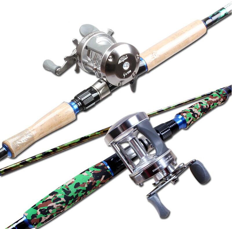 boat raft fishing rod fishing lure rod 2.4m cast drum reel fishing set spree Camouflage<br><br>Aliexpress