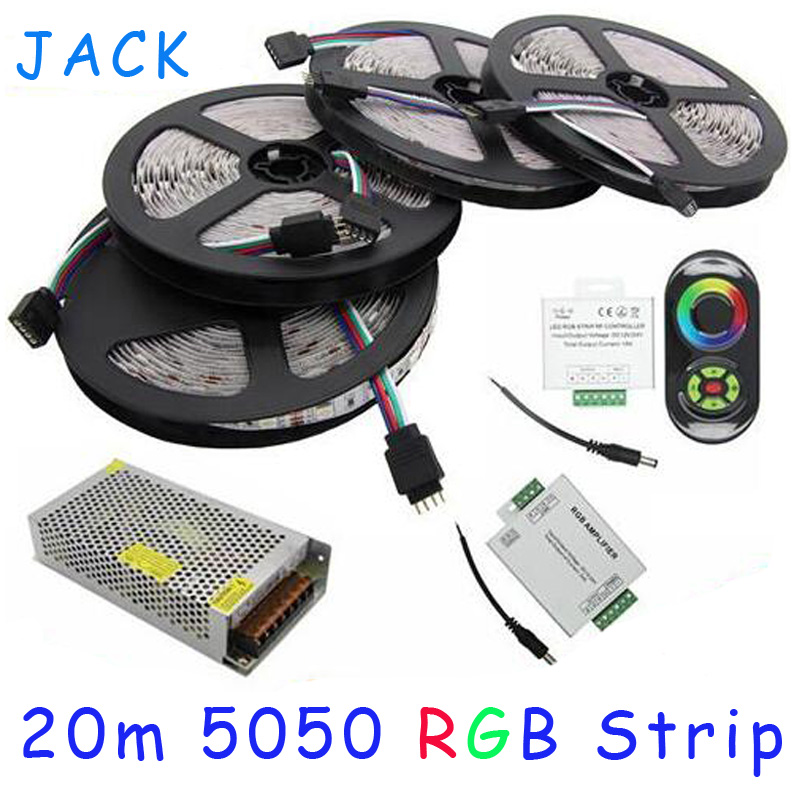 Фотография 20M 5050 RGB strip light 60Leds/M SMD Flexible Led Strip+18A Wireless Touch Remote Controller+24A Amplifier+20 A Power WLED25
