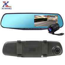 Dual Camera Car Dvr Camera Rearview Mirror Dash Cam G-Sensor HD 1080P 4.3'' 170 Degree night vision High Quality Free Shipping(China (Mainland))