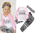 2016 ins baby girl clothing set long sleeve T shirt pants headband 3pcs Infant bebe girl