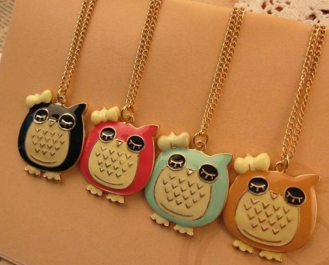 New style fashion cute personalized owl charming necklace X4867