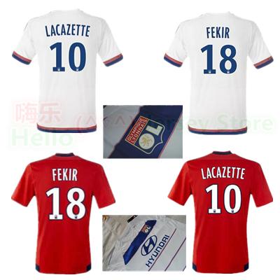 Lyon Soccer jersey 2015 2016 home white France Olympique Lyonnais 15 16 17 18 FEKIR 10 Lacazette away football shirts red FERRI(China (Mainland))