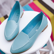 Buy Solid Color Women Slip Pointed Toe Candy Color Working Shoes 2017 Womens Lazy Peas Leather Flats Espadrilles Chaussure Femme for $8.02 in AliExpress store