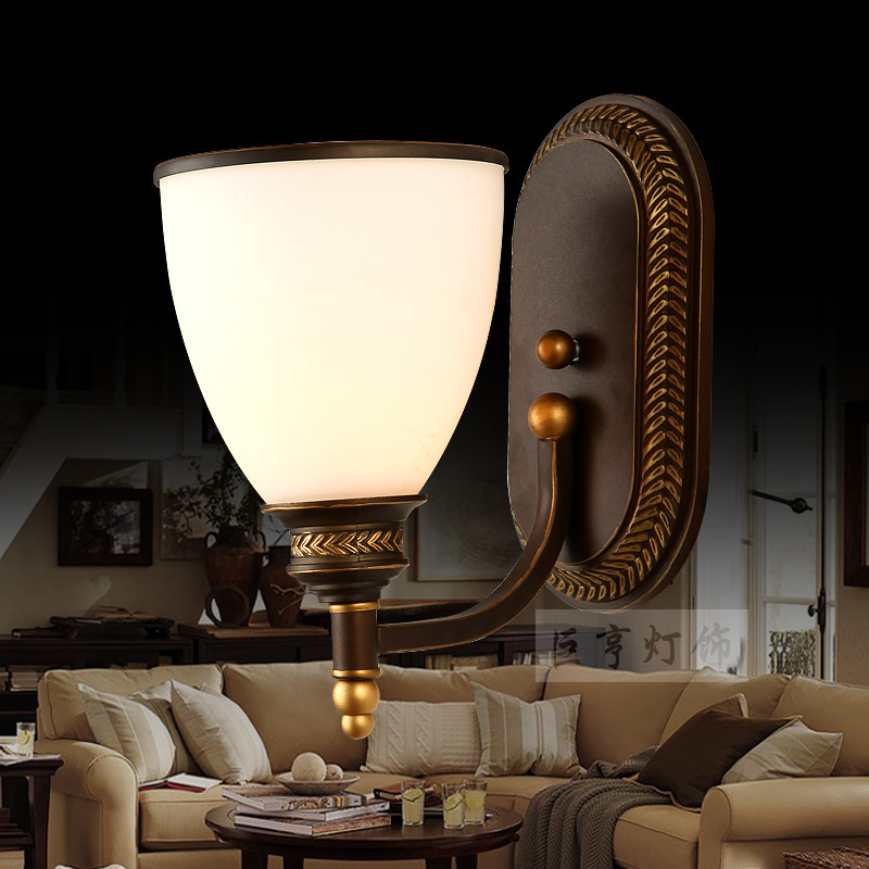 European antique wall lamp bedroom / living room European-style wall lamp / balcony hallway bathroom wall / export lamps