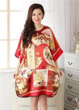 Novelty Green Chinese Women Silk Rayon Robe Loose Lounge Nightgown Kimono Bath Gown Sleepwear Mujer Pajama Plus Size S0109(China (Mainland))