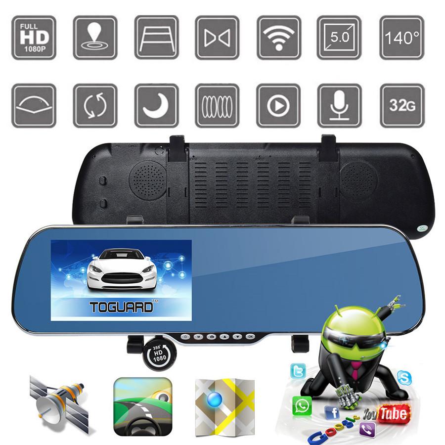 "TOGUARD 5"" Full HD 1080P Android 4.4 1GB RAM+8GB ROM WIFI Dual Lens Camera Car DVR Rearview Mirror Video Recorder GPS Navigator(China (Mainland))"