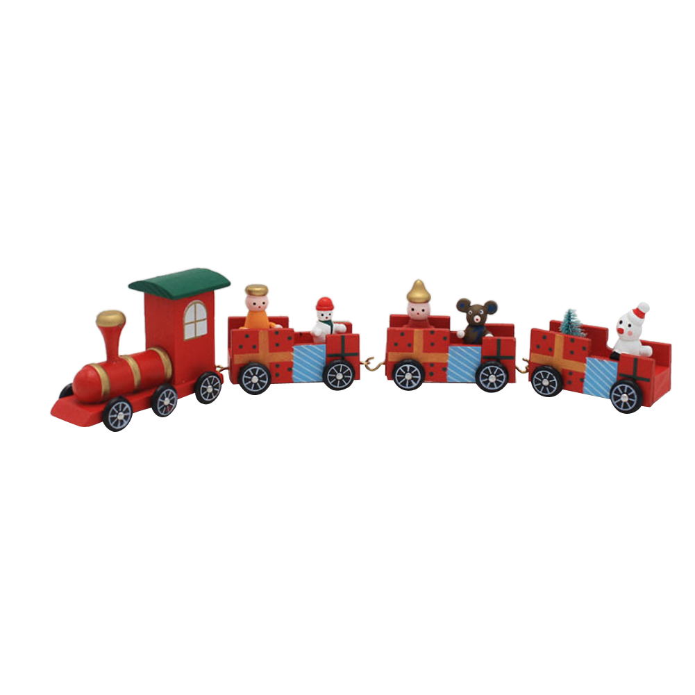 Wooden Mini Christmas Toy Train Assembly 4 Carriages Train Model Xmas Home Ornament Decorations Kids Children Toy Gift(China (Mainland))