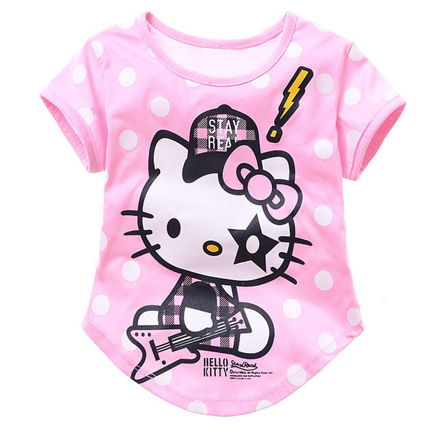 Free shipping 6 pcs/lot cartoon girls t shirt hello kitty clothes for children cute cotton short sleeve t-shirt fo kids pink/red