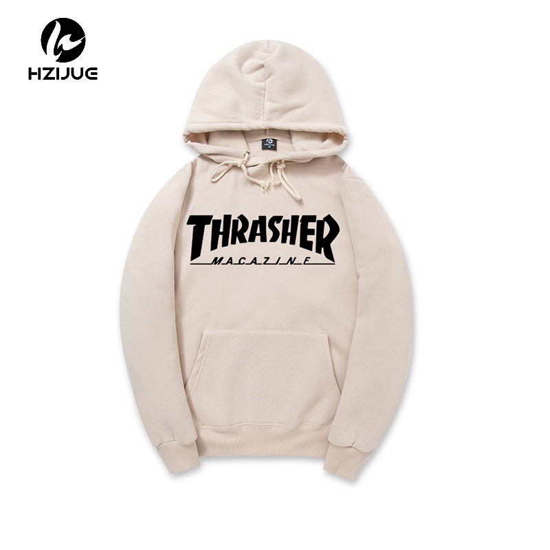 2017 New Fleece Autumn Winter Trasher Men's Hoodies Streetwear Skateboard Hip hop Hoody Thrasher Sweatshirt Men Women Sweat XXL(China (Mainland))