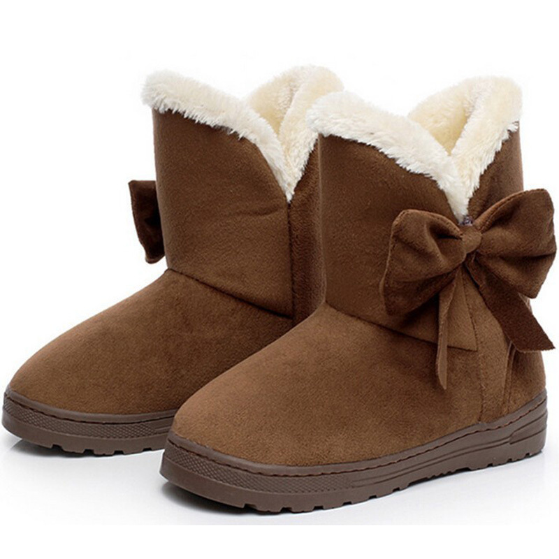 2016 NEW Women Boots Warm Winter Snow Boots Suede Ankle Boots Bowtie Thick Plush Inside Waterproof Botas Mujer Fur Insole Free(China (Mainland))