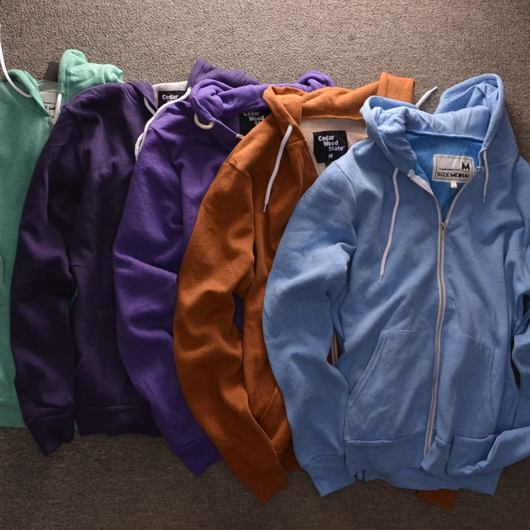 Men's High Quality Solid Colour Zip up Hoodies Original British Brand spring thin hooded sweatshirt candy colors Free Shipping(China (Mainland))