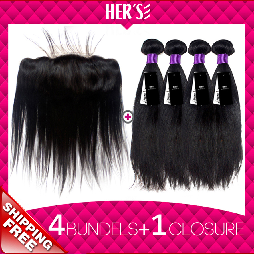 Famous In USA!Peruvian Straight Virgin Hair Lace Frontal Closure With Bundles,13x4 Full Lace Frontal With 4 Bundles Hair Weft<br><br>Aliexpress