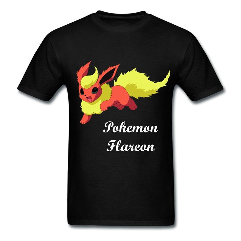 New 2014 summer custom mans flareon pokemon t shirts o for Custom t shirts international shipping