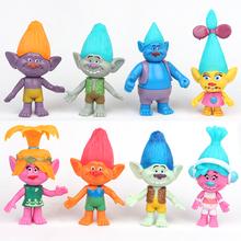 8 Pcs/set Trolls Doll Movie Figure Toy Poppy Branch Biggie Cute PVC Dolls Anime Model Birthday Gift Toys For Kids(China (Mainland))