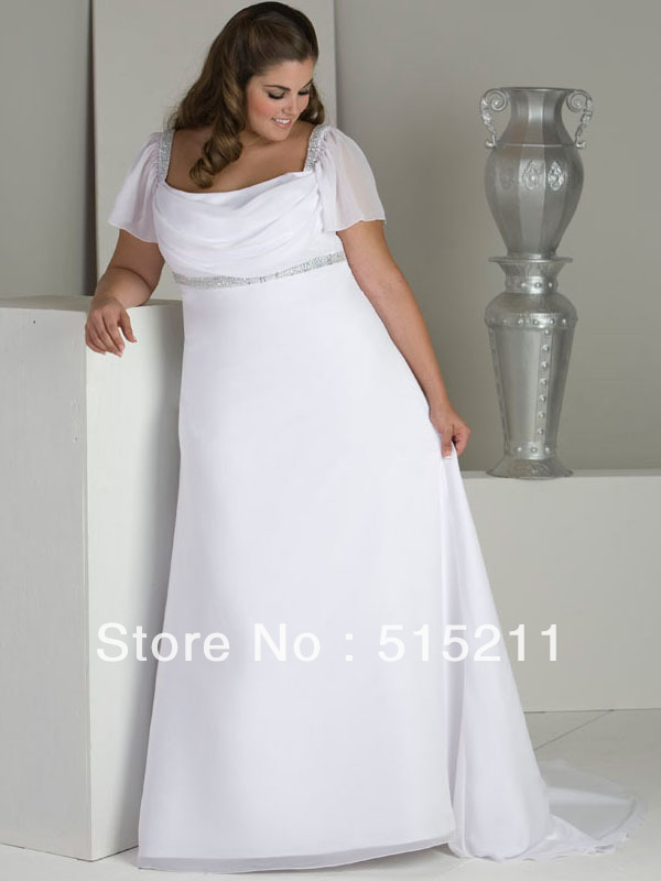 Hot sale cap sleeves empire waist chiffon long plus size for Wedding dresses with sleeves for sale