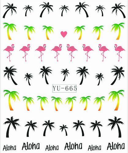 1X Nail Sticker Palm Tree Flamingos Water Transfers Stickers Nail Decals Stickers Water Decal Opp Sleeve Packing YU665(China (Mainland))