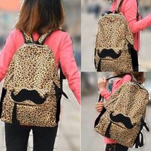 New Girl Backpack Student School Bag Lovely Mustache Lady Leopard Velvet Zipper Shoulders Bag For Teenager Girl HB88(China (Mainland))