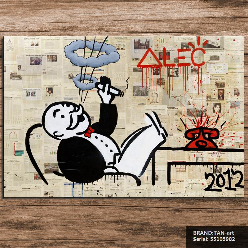 Alec monopoly no5 big Graffiti art print on canvas for wall picture decoration oil painting in living room Cartoon 55105982(China (Mainland))