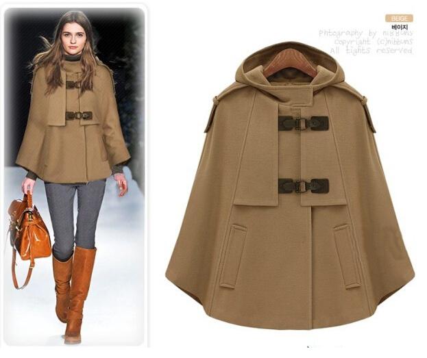 2016 nouveau mode hiver femmes simple col ch le capuche cape manteau de laine manteau s xl. Black Bedroom Furniture Sets. Home Design Ideas