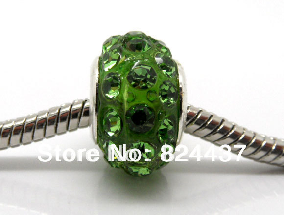Free shipping 5 Green Resin Bead with Rhinestone Fit Charm Bracelet(W00028 X 1)(China (Mainland))