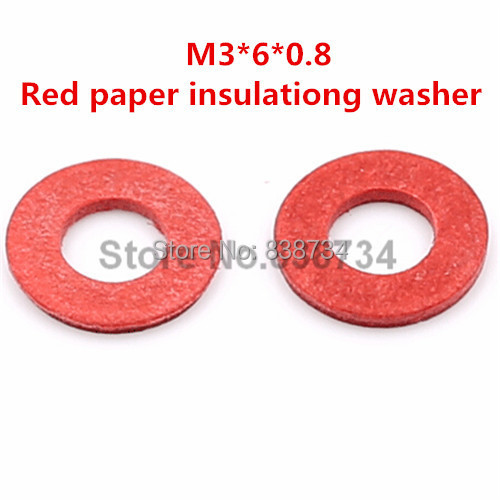 1000pcs m3*6*0.8 flat red paper insulating washer for computer accessories<br><br>Aliexpress
