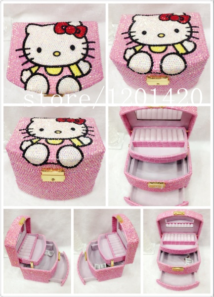 hello kitty Luxury Handcraft jewelry boxes sparkly crystal charms jewellery storage boxes unqiue princess bling stones jewel box(China (Mainland))