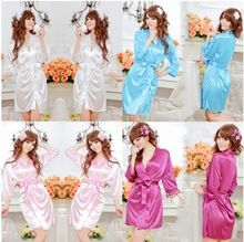 Sexy Lady SILK LACE Kimono Dress Gown Bath Robe Babydoll Lingerie+G-string 6-12(China (Mainland))