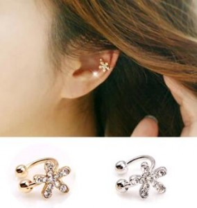 Fashion Korean Style Flower Earrings Crystal No Pierced Clip Earrings Ear Cuff For Women 1PC 3E200(China (Mainland))