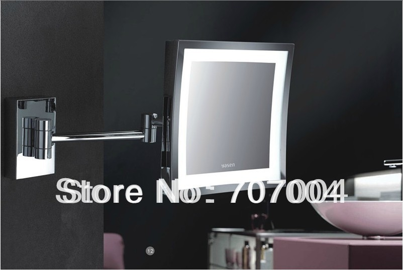 8 Inches Magnifying LED Lighted Square Wall Mounted Chrome Finish Magic Cosmetic Beauty Makeup Mirror W/ Plug(China (Mainland))