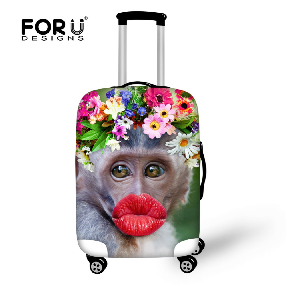 Funny Red Lips Monkey Luggage Protective Covers Elastic