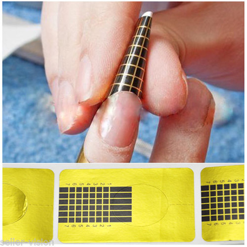 100 PCS/lot Golden Nail Form Primer Acrylic UV Gel Build Extension ...