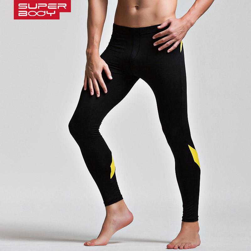 Sexy Men's Skinny Underwear High Stretch Tight fitness sportwear Long Johns Men Soft Sleepwear Male Warm Trousers Running Pants(China (Mainland))
