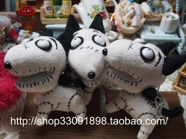 Rare Original Frankenweenie Sparky Dog Plush Toys Pendant Keychains Key Chain Cute Soft Toys for Children Kids Gifts(China (Mainland))