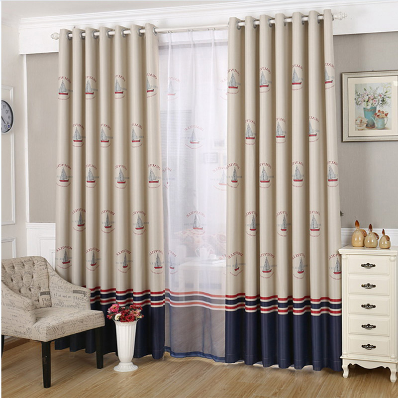 Sailboat window curtains promotion shop for promotional for Boys curtain material