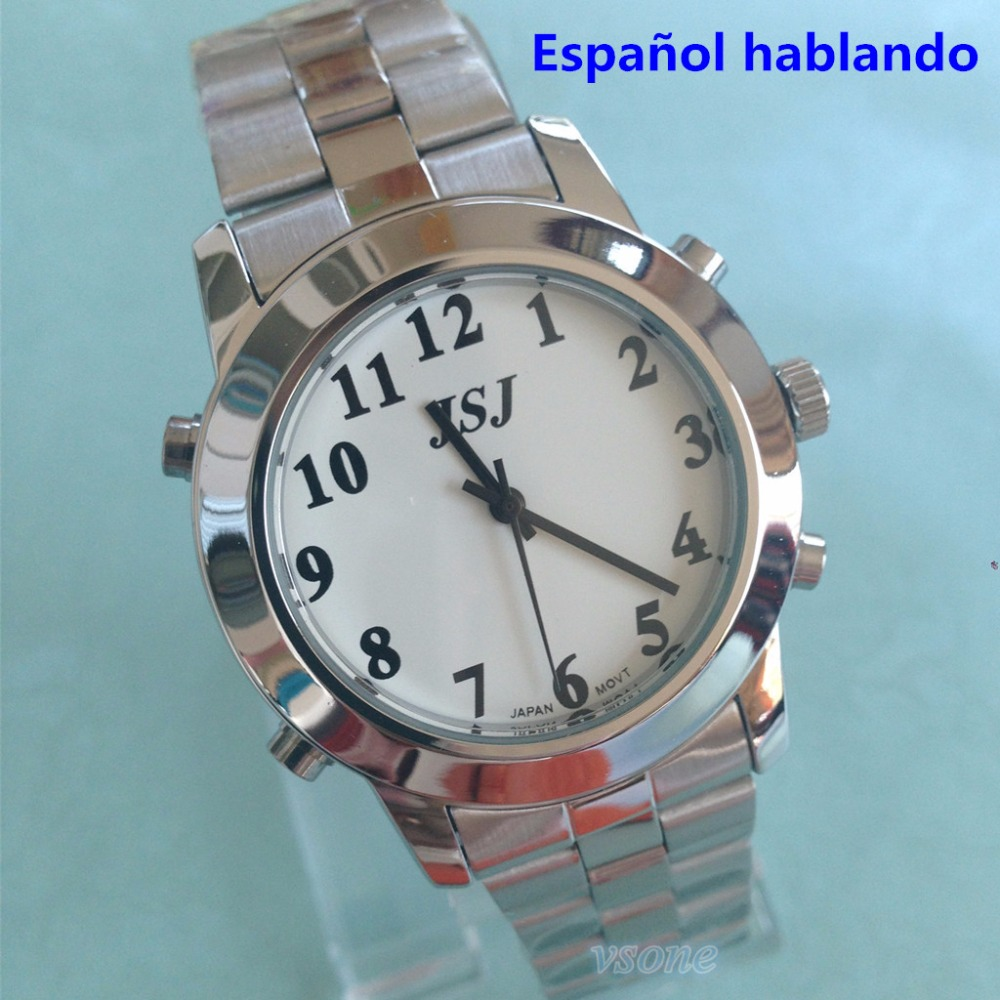 Spanish Talking Watch For Blind Or Low Vison People With Alarm Function For The Elderly Speaking Quartz<br><br>Aliexpress