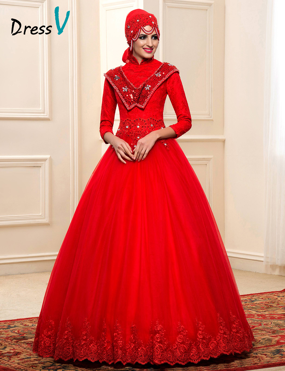 Luxury red lace muslim wedding dresses ball gown 2016 for Cheap wedding dresses in dubai