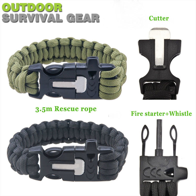 4 in 1 Survival Flint Fire starter paracord Whistle Gear Buckle Camping ignition Outdoor hiking 3.5m rescue rope escape Bracelet(China (Mainland))