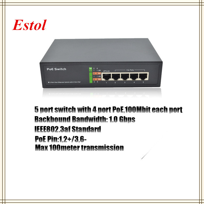 2015 New IEEE802.3af Standard 4 port PoE switch 5 RJ45 port 10/100mbps for IP camera,Ethernet network switch IP Phone AP(China (Mainland))