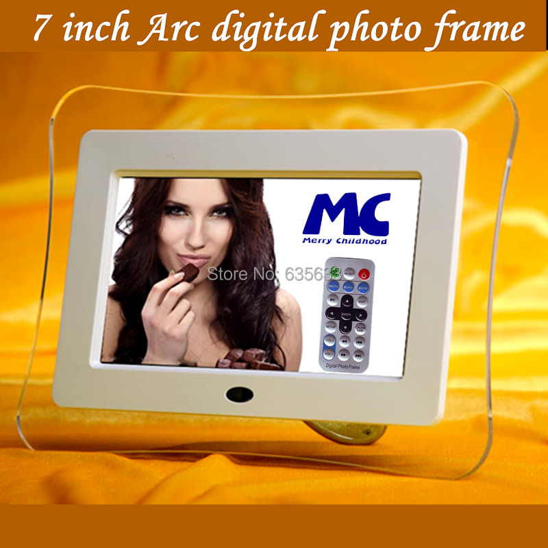 2015 Christmas Gift 7 Inch Arc Acrylic Digital Frame Photo Full Function, support playing Mp3&Movie via usb or sd card by remote(China (Mainland))