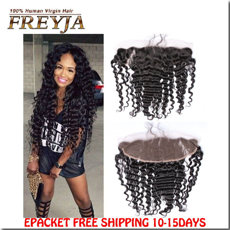 Hair Indian Deep Wave Curly Lace Frontal Closure Hand-tied 4x13 Lace Closure Full and thick human hair<br>