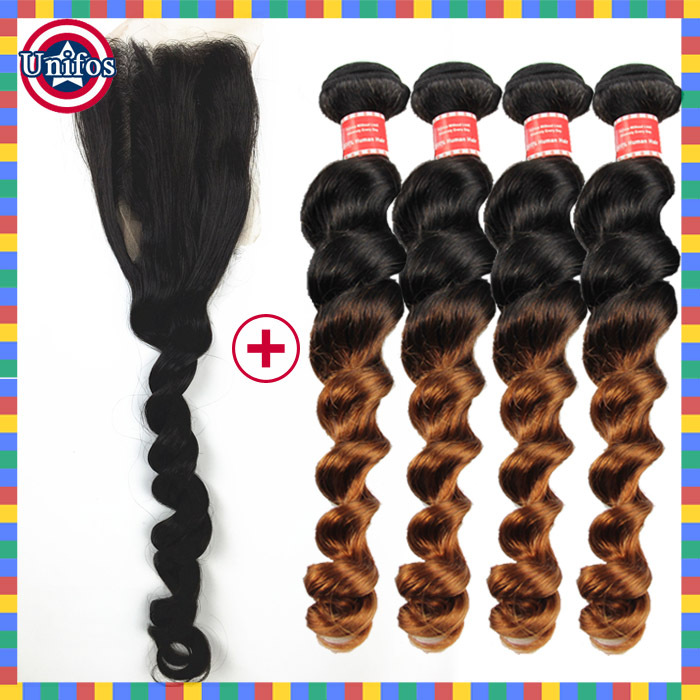 4 Bundles Ombre Brazilian Virgin Hair With Closure Loose Wave 1b30 Ombre Hair Extensions With Closure Burgundy Hair With Closure<br><br>Aliexpress