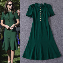 Buy Brand New Women 2017 Spring Summer Dress Fashion Brand Designer Runway Dresses Half Sleeve Green kate middleton dress black xl ) for $65.90 in AliExpress store