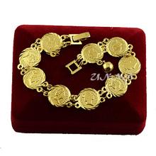Womens Men Girls 18K Gold Filled Bracelets Round Link Heart Bell Wristband Good Jewelry Toggle(China (Mainland))