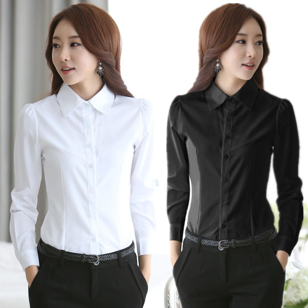 2015 New fashion White Shirt Women work wear Long Sleeve Tops Slim Women's Blouses Shirts new S-4XL casual blusas blusa(China (Mainland))