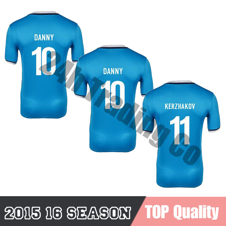 2015 2016 Zenit Saint Petersburg 2015 Jersey Zenit FC St Petersburg 15/16 Home soccer Jersey Custom Russia HULK Right Version(China (Mainland))