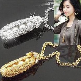 12pcs/lot Free shipping Pea Clip Necklace pendant Hot Korea Jewelry Vintage Sweater gold and silver Chain Necklaces cheap(China (Mainland))