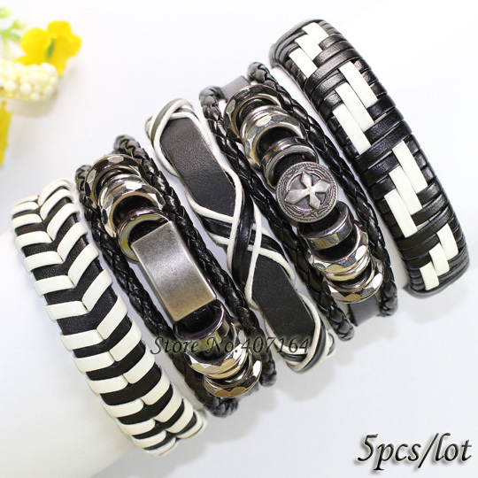 FL96-black & white punk metal bangles handmade ethnic genuine leather bracelet charms men () - SunFlower Trade Co.,Ltd store