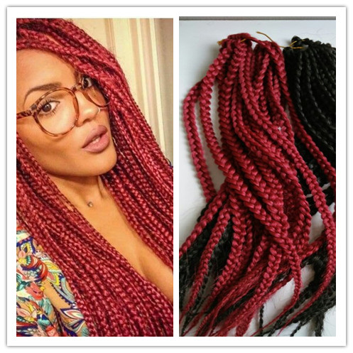 Crochet Box Braids Red : ! 24 synthetic braiding ombre color synthetic braids box braiding ...